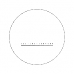Reticle with 140 divisions in 14mm and crosshair (Ø25mm)