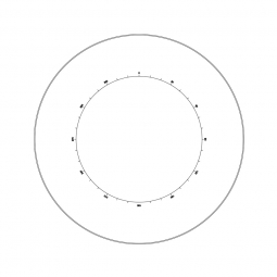 Reticle with 360º protractor with 30º divisions and crosshair (Ø25mm)
