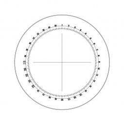 Reticle with 360º protractor with 1º divisions and crosshair (Ø23mm)