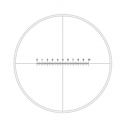 Reticle with 100 divisions in 10mm and crosshair (Ø19mm)