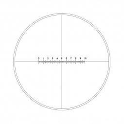 Reticle with 100 divisions in 10mm and crosshair (Ø21mm)
