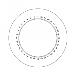 Reticle with 360º protractor with 1º divisions (Ø25mm) only available for 10X eyepiece