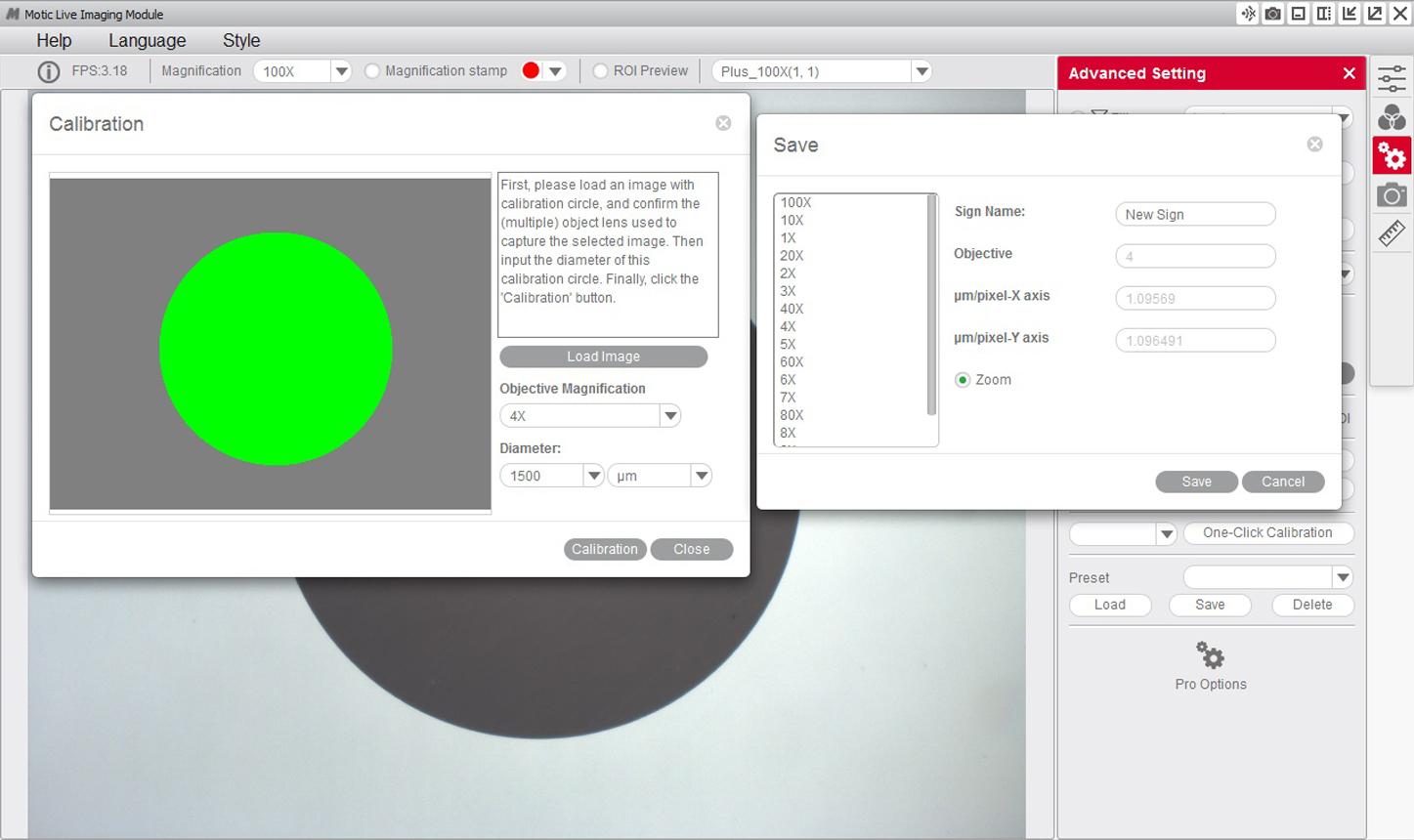 Calibration Motic Images Plus 3.0